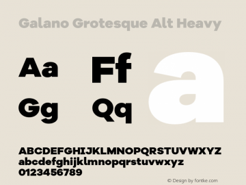 Galano Grotesque Alt Heavy Version 1.000 Font Sample