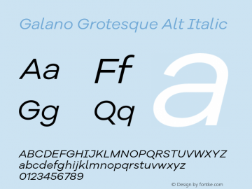 Galano Grotesque Alt Italic Version 1.000 Font Sample