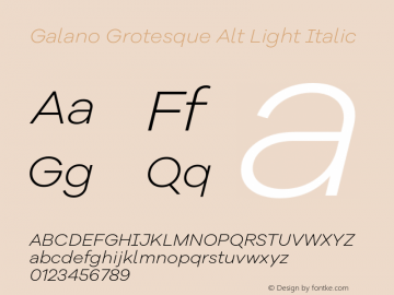 Galano Grotesque Alt Light Italic Version 1.000 Font Sample
