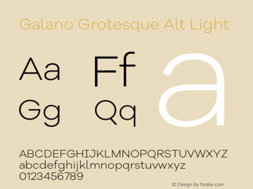 Galano Grotesque Alt Light Version 1.000 Font Sample