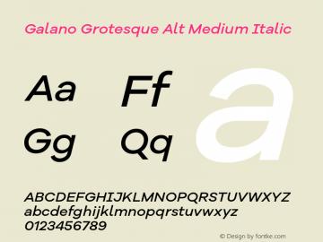 Galano Grotesque Alt Medium Italic Version 1.000 Font Sample