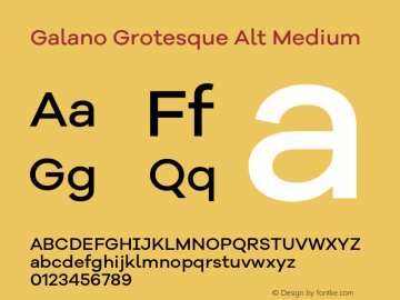 Galano Grotesque Alt Medium Version 1.000 Font Sample