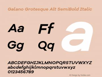 Galano Grotesque Alt SemiBold Italic Version 1.000 Font Sample