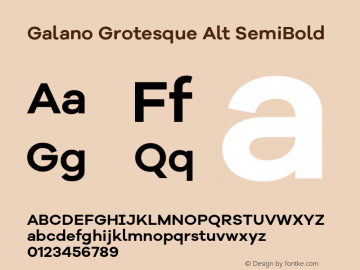 Galano Grotesque Alt SemiBold Version 1.000 Font Sample