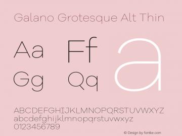 Galano Grotesque Alt Thin Version 1.000 Font Sample