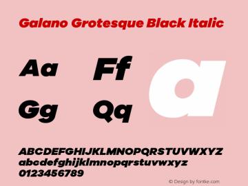 Galano Grotesque Black Italic Version 1.000 Font Sample