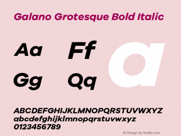 Galano Grotesque Bold Italic Version 1.000 Font Sample
