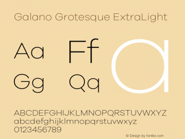 Galano Grotesque ExtraLight Version 1.000 Font Sample