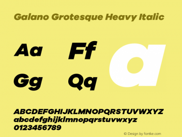 Galano Grotesque Heavy Italic Version 1.000 Font Sample