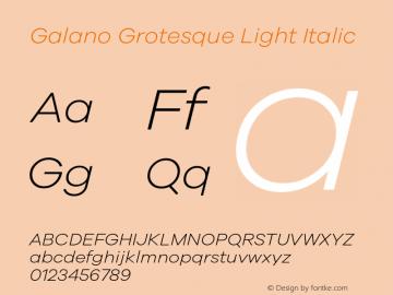 Galano Grotesque Light Italic Version 1.000 Font Sample