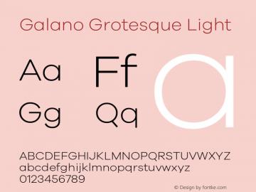 Galano Grotesque Light Version 1.000 Font Sample
