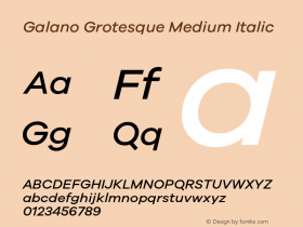 Galano Grotesque Medium Italic Version 1.000 Font Sample