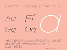 Galano Grotesque Thin Italic Version 1.000 Font Sample