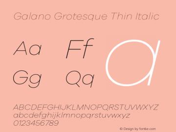 Galano Grotesque Thin Italic Version 1.000 Font Sample