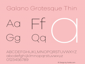Galano Grotesque Thin Version 1.000 Font Sample