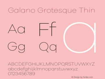 Galano Grotesque Thin Version 1.000 Font Sample