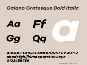 Galano Grotesque Bold Italic Version 1.000;PS 001.000;hotconv 1.0.70;makeotf.lib2.5.58329 Font Sample