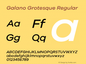 Galano Grotesque Regular Version 1.000;PS 001.000;hotconv 1.0.70;makeotf.lib2.5.58329;com.myfonts.easy.rene-bieder.galano-grotesque.medium-italic.wfkit2.version.4kJQ Font Sample