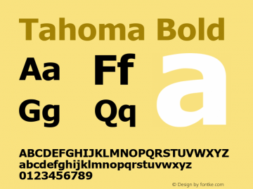 Tahoma Bold Version 2.80 Font Sample