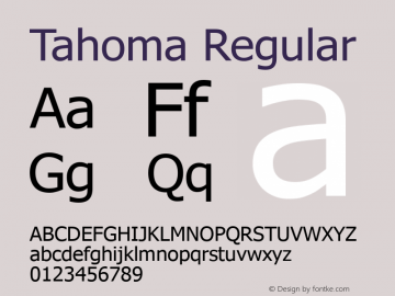 Tahoma Regular Version 3.14 Font Sample
