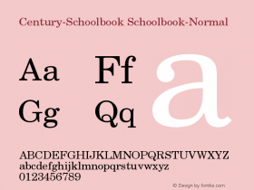 Century-Schoolbook Schoolbook-Normal Version 001.000 Font Sample