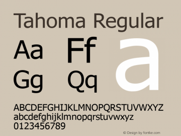 Tahoma Regular Version 5.01 Font Sample