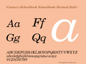 Century-Schoolbook Schoolbook-Normal-Italic Version 001.000 Font Sample