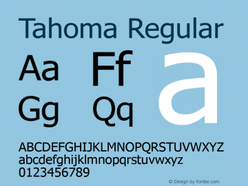 Tahoma Regular Version 5.13 Font Sample