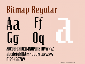 Bitmap Regular The IMSI MasterFonts Collection, tm 1995, 1996 IMSI (International Microcomputer Software Inc.) Font Sample