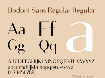 Bodoni Sans Regular Regular Version 1.000 Font Sample