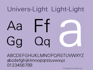 Univers-Light Light-Light Version 001.000 Font Sample