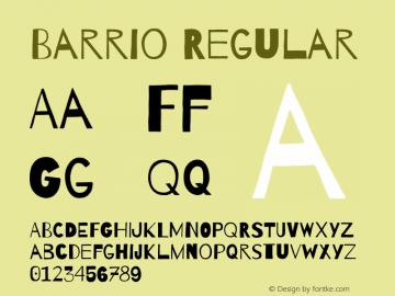 Barrio Regular Version 1.004 Font Sample