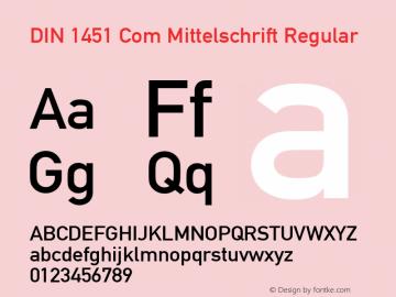 DIN 1451 Com Mittelschrift Regular Version 2.01 Font Sample