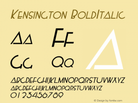Kensington BoldItalic Macromedia Fontographer 4.1.5 5/14/98 Font Sample