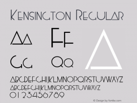 Kensington Regular Macromedia Fontographer 4.1.5 5/14/98 Font Sample