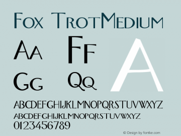 Fox TrotMedium Version 001.000 Font Sample