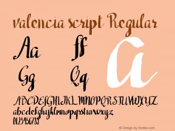 valencia script Regular 1.000图片样张