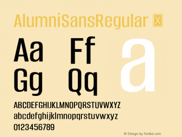 AlumniSansRegular ☞ Version 1.000;PS 001.001;hotconv 1.0.56;com.myfonts.easy.typesetit.alumni.regular.wfkit2.version.4mJz图片样张