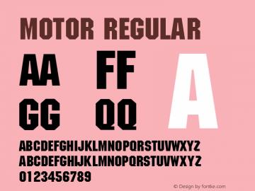 Motor Regular Unknown Font Sample