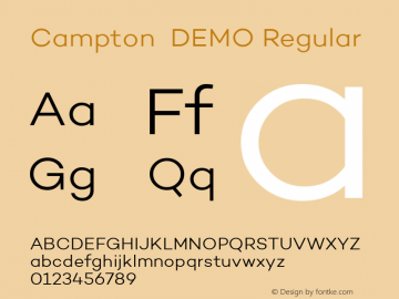 Campton  DEMO Regular Version 1.000;PS 001.000;hotconv 1.0.70;makeotf.lib2.5.58329;com.myfonts.easy.rene-bieder.campton.light-demo.wfkit2.version.47yk Font Sample