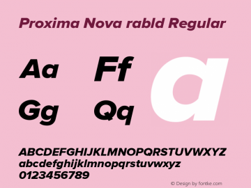 Proxima Nova rabld Regular Version 2.008; Proxima Nova Extrabld Italic;com.myfonts.easy.marksimonson.proxima-nova.extrabld-it.wfkit2.version.4mZm Font Sample