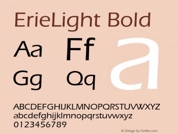ErieLight Bold Unknown Font Sample