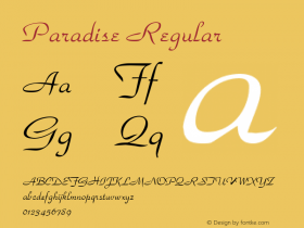 Paradise Regular 001.003 Font Sample