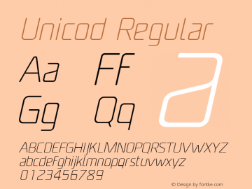 Unicod Regular Version 1.000;com.myfonts.easy.mostardesign.unicod-sans.light-italic.wfkit2.version.4mfo图片样张
