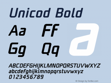Unicod Bold Version 1.000;com.myfonts.easy.mostardesign.unicod-sans.medium-italic.wfkit2.version.4mfm图片样张