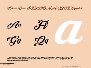 Krinkes Decor PERSONAL USE Regular Version 1.000 Font Sample