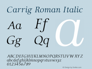 Carrig Roman Italic Version 1.000;PS 001.000;hotconv 1.0.70;makeotf.lib2.5.58329 Font Sample
