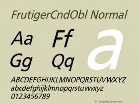 FrutigerCndObl Normal Version 001.000 Font Sample