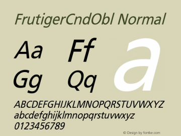 FrutigerCndObl Normal Version 001.000 Font Sample