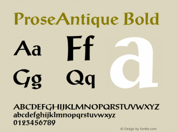 ProseAntique Bold 001.003 Font Sample